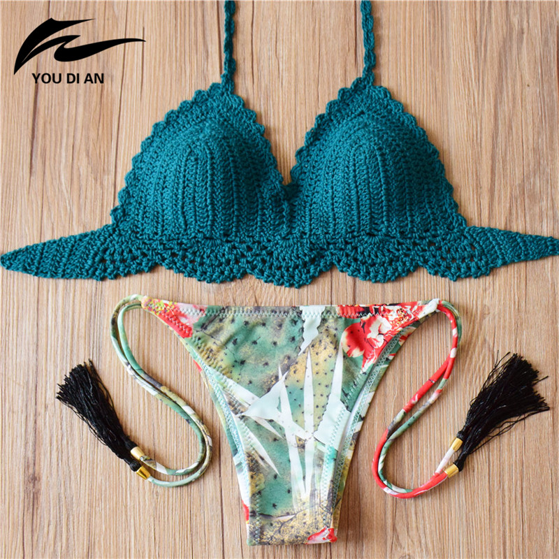 2017 Crochet Bikini Handmade Knitted Swimsuit Sexy Swimwear Women Bathing Suit Swimming Wear Brazilian Bikinis 2016 sexy crochet bikini with shell white black strappy bikinis set swimwear handmade crochet swimsuit brazilian shell bikini