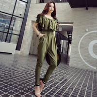 Dabuwawa Summer Elegant Ruffles Off should Jumpsuit New Women Army Green High waist Rompers Full Length D17BJP086