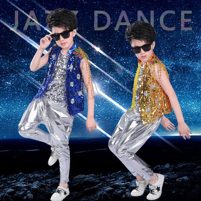 3 Pieces Boys Sequined Modern Jazz Hip Hop Dancewear Outfits Kid's Party Dance Costumes Stage Wear Jazz Dancing DS Costumes