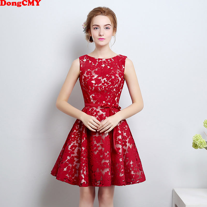 DongCMY 2018 New Arrival short Plus size   Cocktail     Dress   Wine Red Slim Party Women Vestidos Party Gown