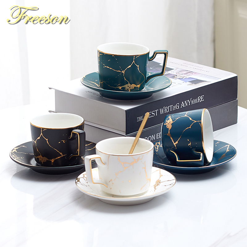 Мраморная керамическая кофейная чашка, набор ложек, 200 мл, Скандинавская чайная чашка, матовый фарфоровый чайный набор, Современная чайная ч...