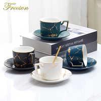 Marmo di Ceramica Tazza di Caffè Piattino Cucchiaio Set 200ml Nordic Tazza di Tè di Porcellana Opaca Tea Set Avanzato Tazza di Caffè Espresso tazza