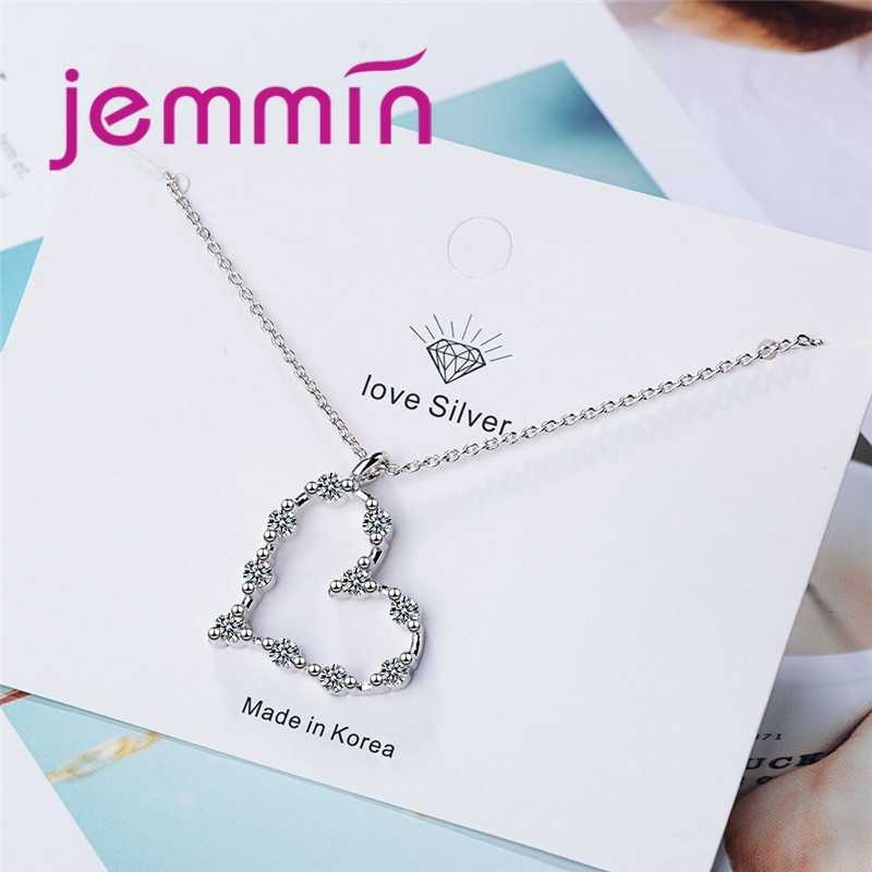 3 Colors Fashion 925 Sterling Silver Jewelry Zircon Women Pendant Necklace Heart Geometric Charm Clavicle Chains Collar