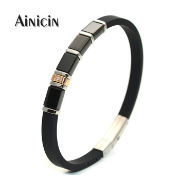 Fashion Men's Black Rubber Bracelets 6mm Wide Adjustable Bangles Stainless Steel Zircon CZ Setting Women Gift Jewelry