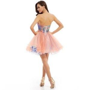 Image 2 - Dressv pembe zarif homecoming elbise ucuz bir çizgi straplez sequins baskı diz boyu mezuniyet ve mezuniyet elbiseleri