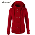 Plus Size New Casual Women Hoodies 2016 Winter Autumn Woman's Sweatshirts Hooded Double Breasted Thickening Female Sportswear