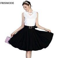 LANLAN Elegant Black And White Two Piece Dress Summer 2016 Brief Office Ladies Work Dresses Women