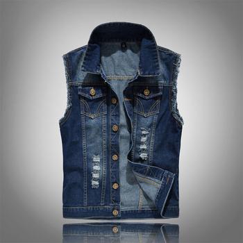 Plus rozmiar 6XL kamizelka dżinsowa mężczyźni moda bez rękawów kurtki jeansowe myte zgrywanie dziura kamizelka Cowboy Streetwear mężczyźni kamizelki MY099 tanie i dobre opinie Poliester BeckyWalk W stylu Punk Suknem