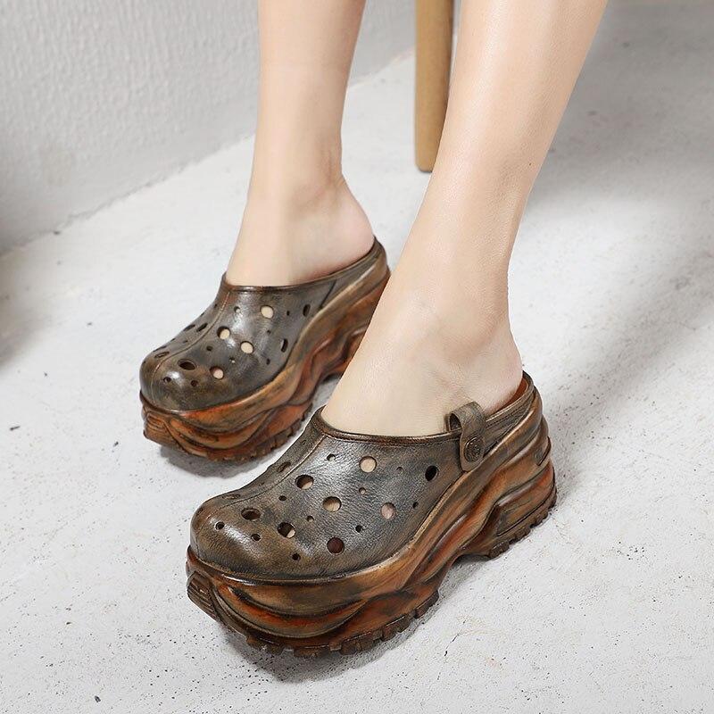 Plataforma Zapatos Hueco A Grueso 2019 Hechos Zapatillas Mujer Nueva Cuero Mano Baotou De Verano Gray Retro Fondo Genuino Sandalias 7xwwEFqY1