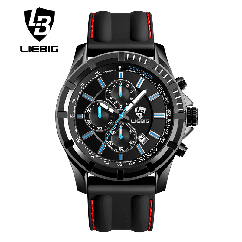 LIEBIG Big Dial Men Quartz Watches Military Outdoor Sports Watches Red Fashion Casual Wristwatches Waterproof Relogio