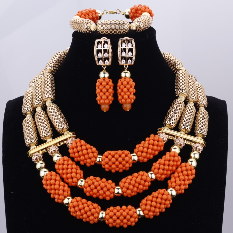 Orange Crystal Three Layers Gold Ladies Layered Necklaces Jewellery Nigerian African Wedding Beads Bridal Jewelry Set New 2017