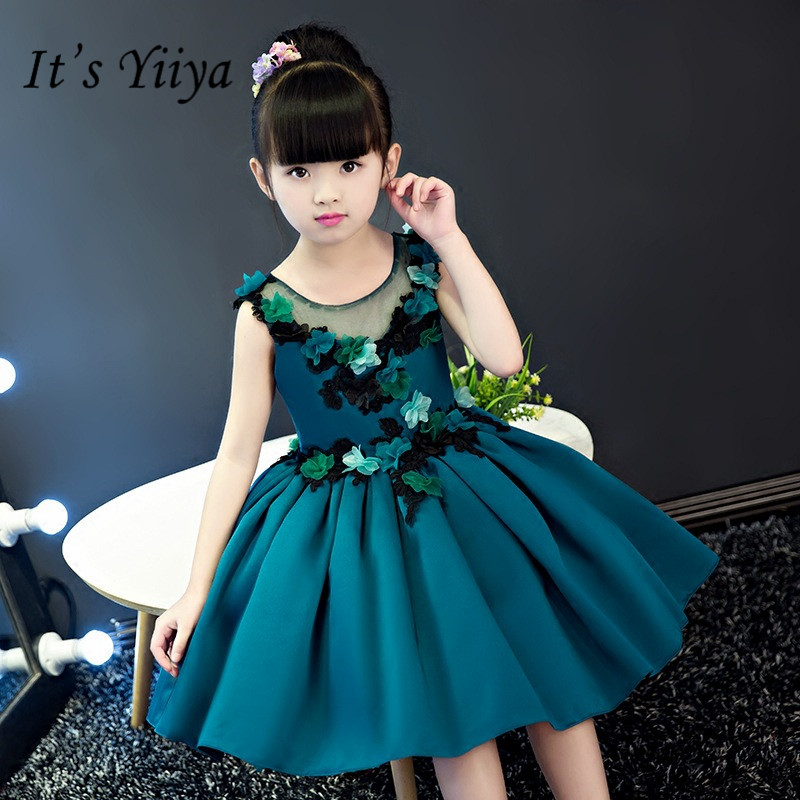 It's yiiya Fashion Appliques   Flower     Girl     Dresses   Elegant O-neck Ball Gown Birthday Tank   Girl     Dress   TS249