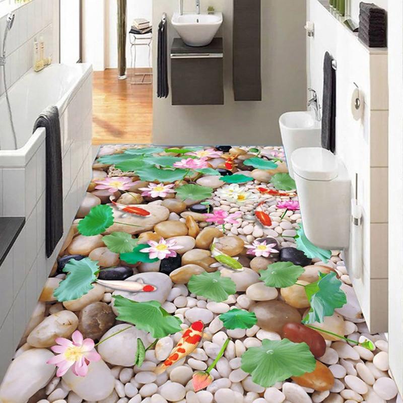 цена на Custom Floor Mural Wallpaper Waterproof Kitchen Living Room Bathroom Floor Sticker Printing Self-adhesive Wallpaper Lotus Fish