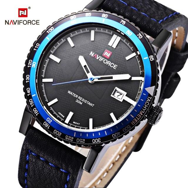 NAVIFORCE Brand Men Watch Fashion Casual Sport Watches Men Waterproof Leather Quartz Watch Man military Clock Relogio Masculino