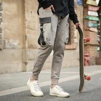 ใหม่บุรุษJoggersกางเกงแข็งกระเป๋าขนาดใหญ่กาง