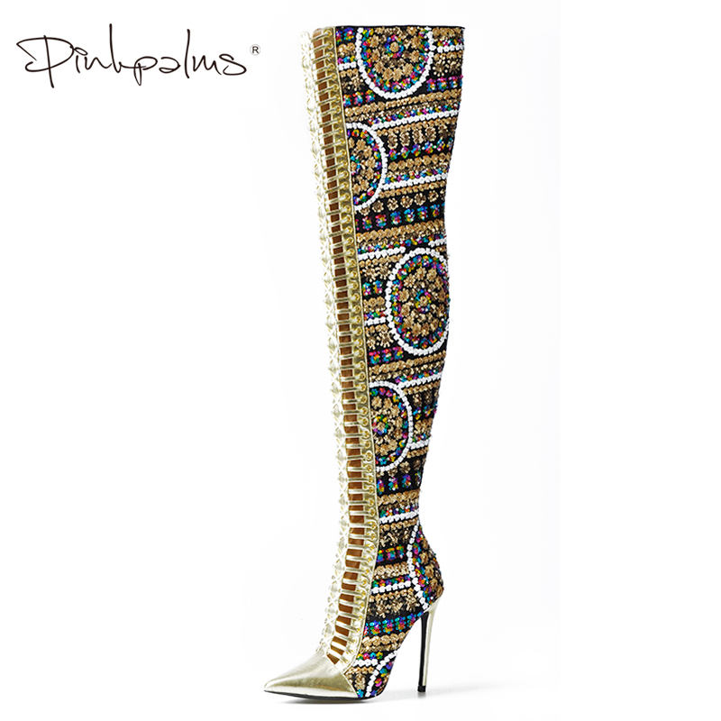 Pink Palms Women Shoes Winter Summer Shoes Sequined Cloth Over the Knee High Heels Boots Cross Tied International Show Boots
