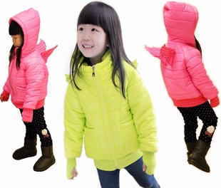 ФОТО Free shipping girl's winter clothing candy color angel wings upset cotton-padded jacket hooded cotton-padded clothes coat