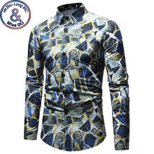 Mens Slim Fit Long Sleeve Dress Shirt 2018 Fashion Vintage Geometric Print Shirt Men Spring Autumn Casual Shirts Camisa Hombre(China)