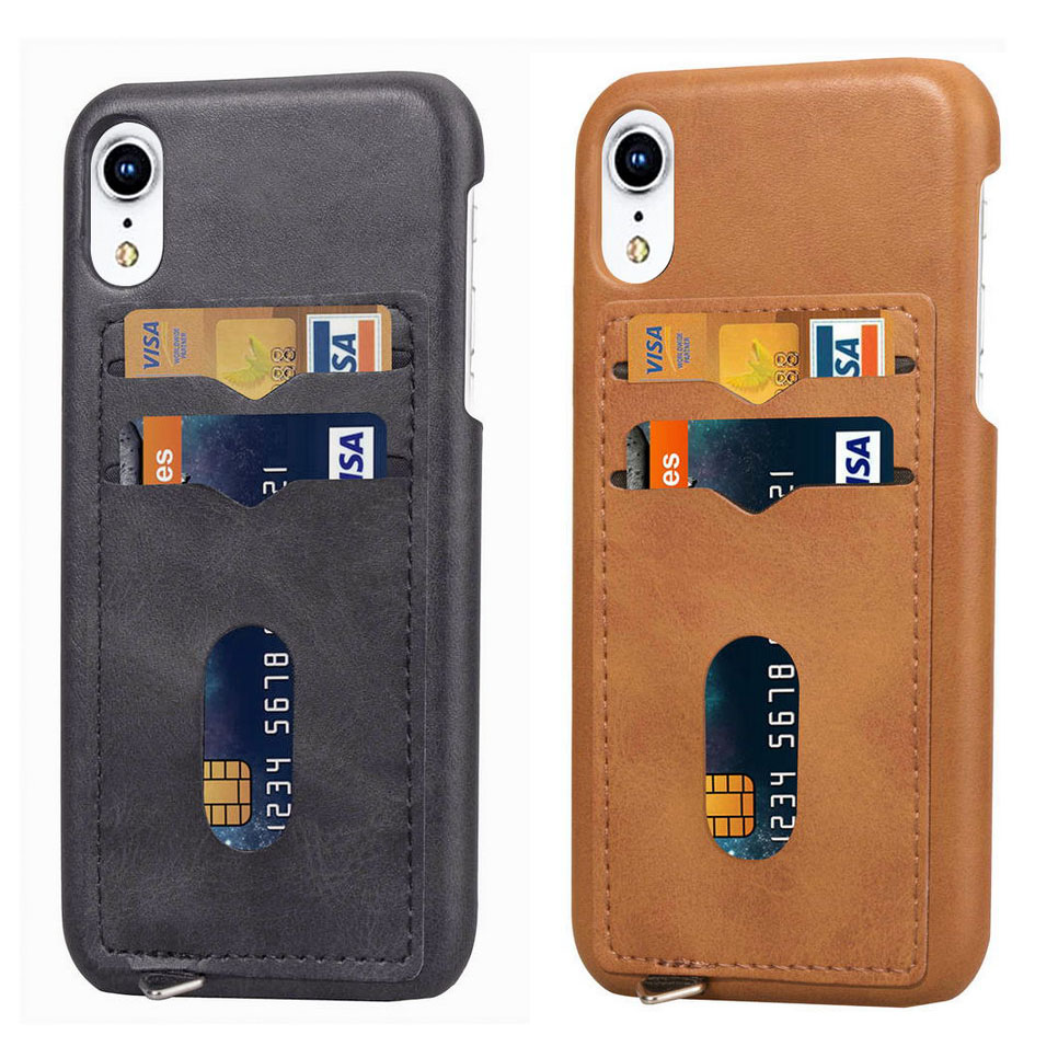 2 layer Business Credit Pocket For iPhone XS XR MAX case