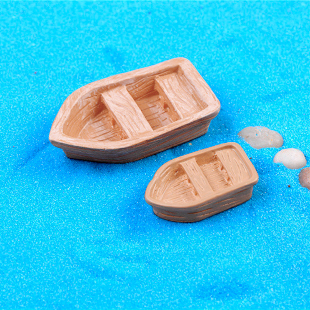 2Pcs/lot DIY Retro Resin Craft Wood Boat Model Figure Toys For Kids Micro Garden Decoration Ornaments
