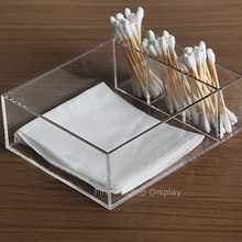 Premium Small Clear Acrylic Multipurpose Decorative Tray Cotton Swab Holder Jewelry Accessories Display