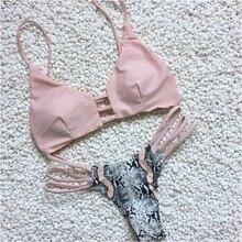 Дамы для девочек; Новинка модный пэчворк бикини со змеиным принтом комплект для плавания купальный костюм из двух предметов пляжный купальник для Для женщин Лето Горячие