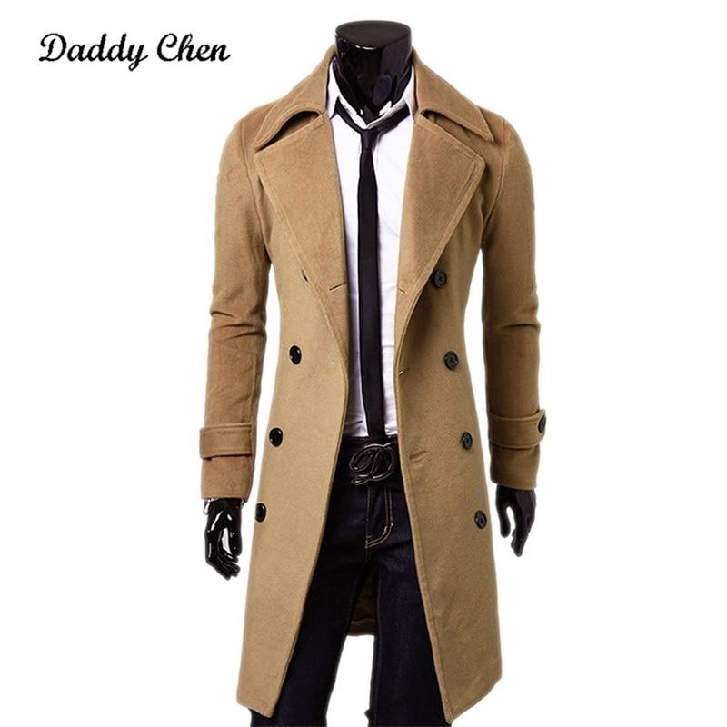 NEW Top Quality Fashion Brand Autumn Jacket Long   Trench   Coat Men Slim Black Male Overcoat Mens Khaki Coat trenchcoat Windbreaker