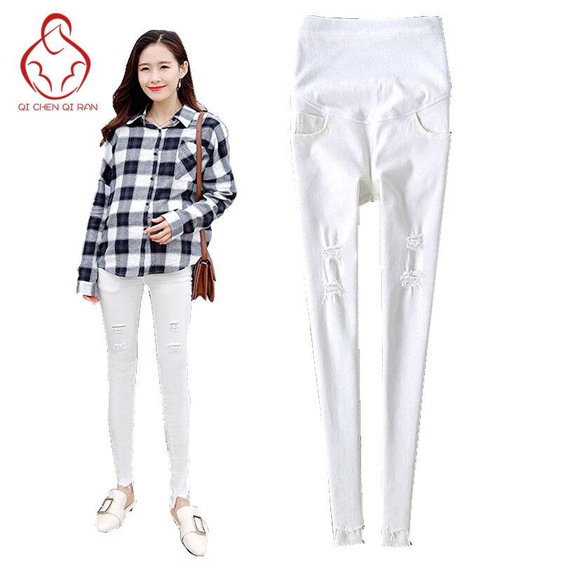 2017 våren nya jeans gravid kvinnor vit tunt avsnitt av gravida kvinnor byxor sträcker magen graviditet gravid kläder
