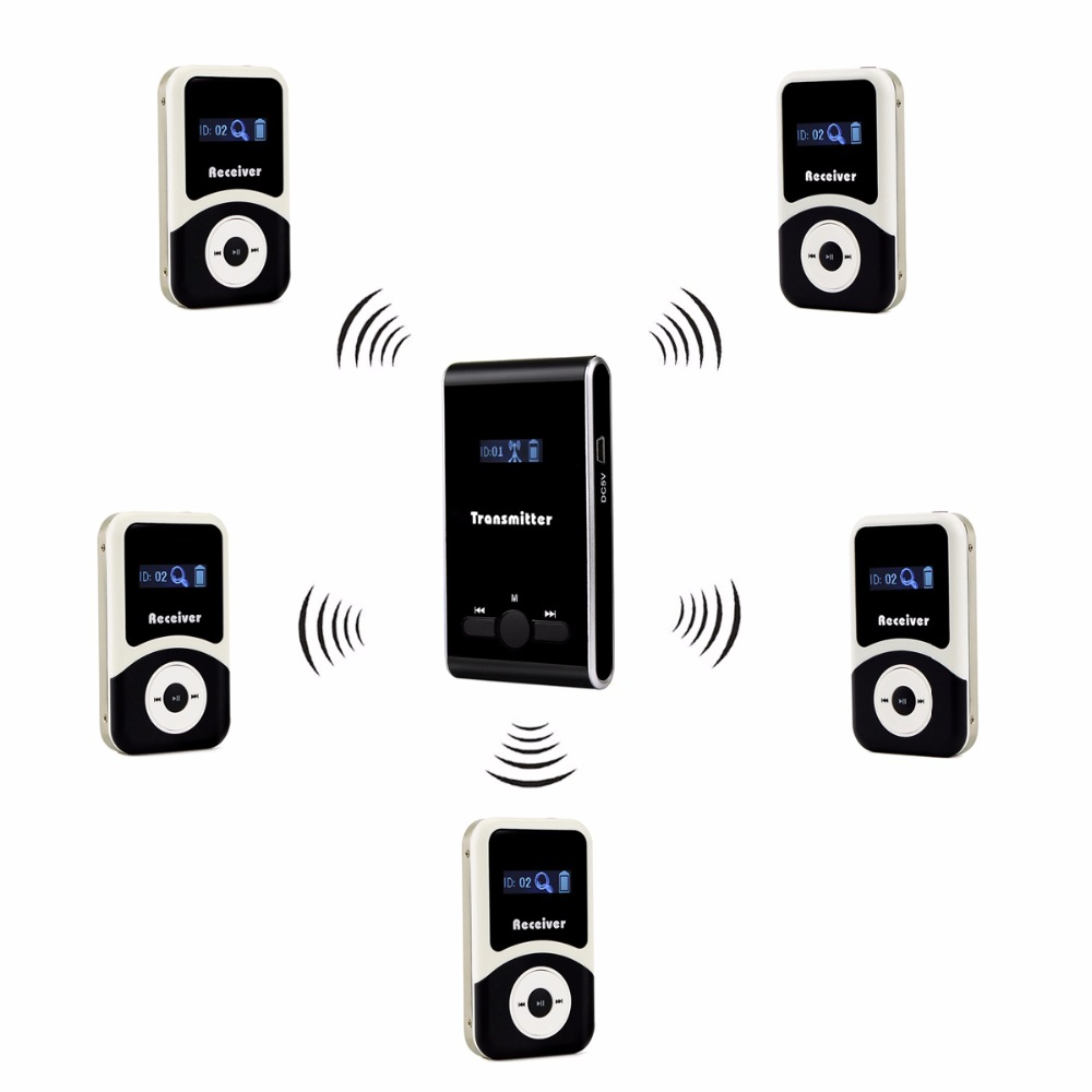 Anders 99CH Portable Professional Wireless Tour Guide System For Simultaneous Large Meeting 1 Transmitter+5 Receiver F4507 blueskysea atg100 wireless tour guide system 1transmitter 15 receivers charger for meeting visiting teaching 195 230mhz portable