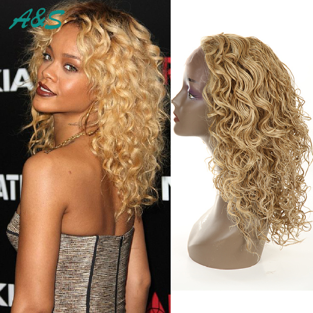 Gorgeous cosplay womens wig blonde curly wigs long wavy peruca crochet  braids synthetic hair new lace a0c239e999