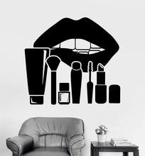 Della parete del vinile applique labbra studio di trucco cosmetici salone di bellezza autoadesivo della decorazione della parete del salone di bellezza finestra di riferimento 2MY11