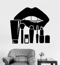 Vinilo aplique de pared labios maquillaje estudio cosméticos salón de belleza pegatina decoración de pared salón de belleza ventana referencia 2MY11