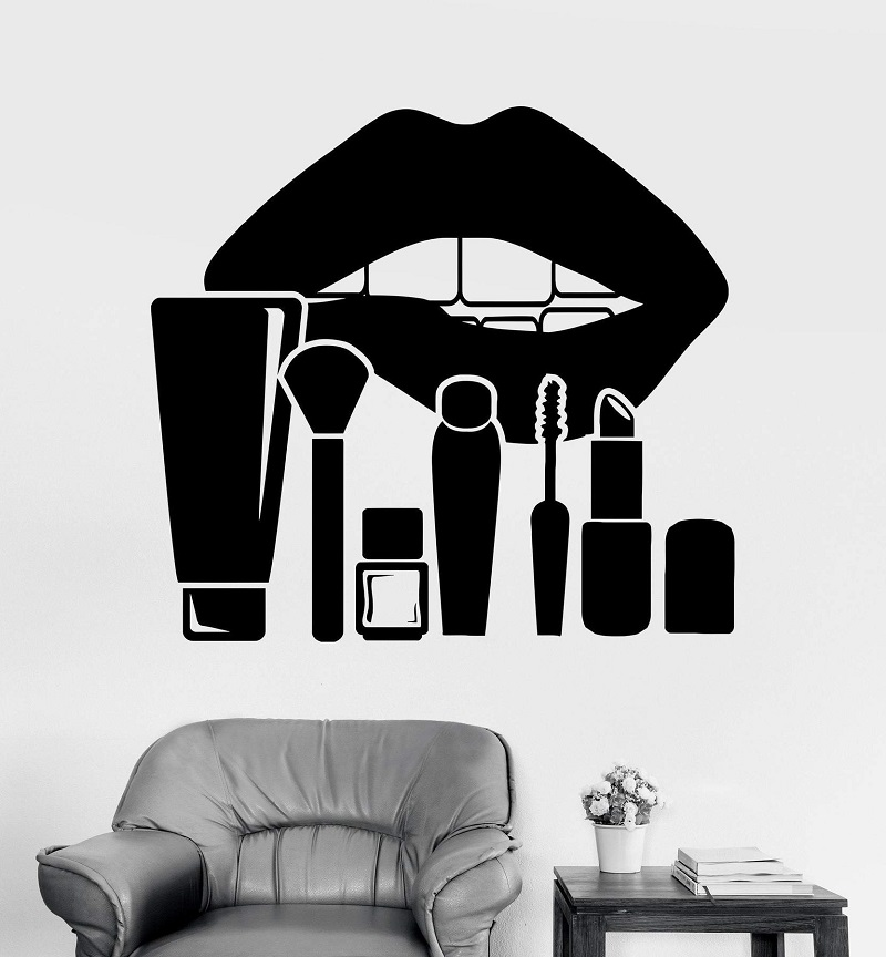 Vinyl wall applique lips makeup studio cosmetics beauty salon sticker wall decoration beauty salon window reference 2MY11-in Wall Stickers from Home & Garden
