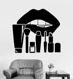 Image 1 - ויניל קיר applique שפות איפור סטודיו קוסמטיקה יופי סלון מדבקת קיר קישוט יופי סלון חלון התייחסות 2MY11