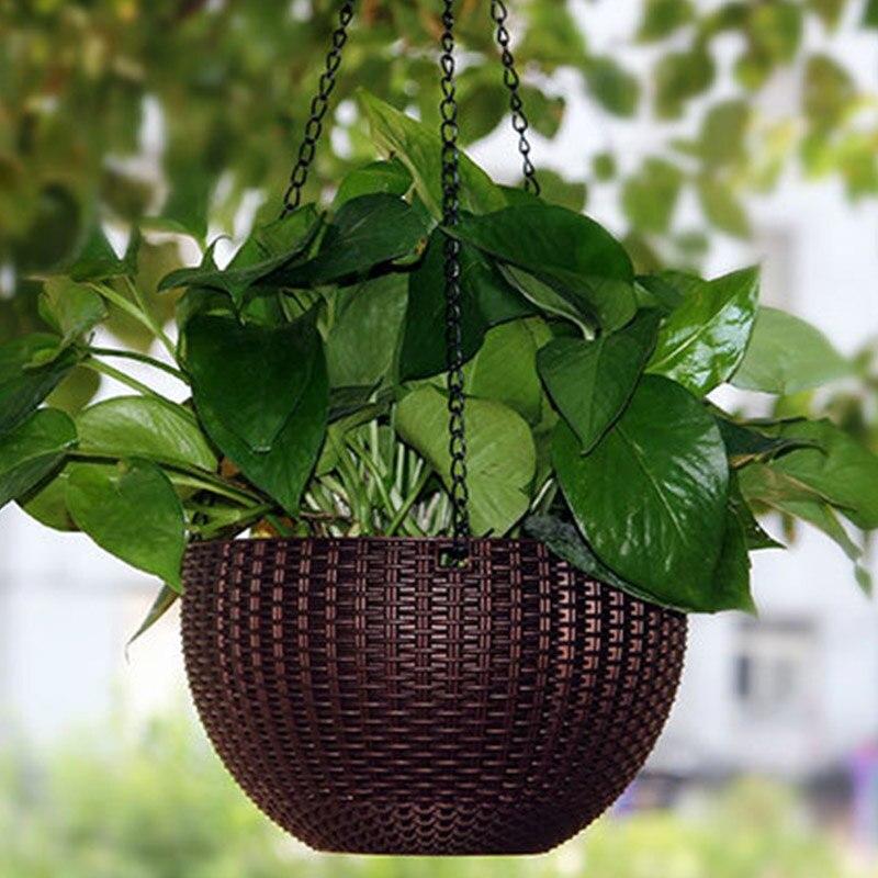 Economic Imitation Rattan Weaving Chain Hanging Planters For Garden Nursery Plastic Vase For Baskets Garden Pot Home Decor
