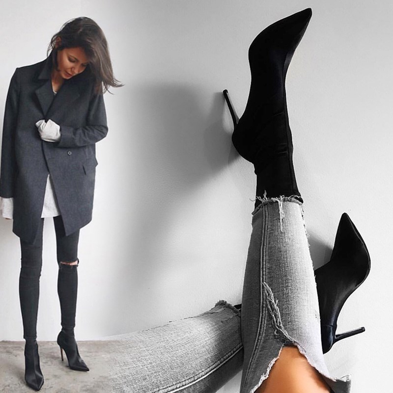 EOEODOIT High Stiletto Heels Elastic Boots Women Sexy Pointy Toe Stocking Sock Shoes Pumps Boots Lycra купить в Москве 2019