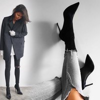 EOEODOIT High Stiletto Heels Elastic Boots Women Sexy Pointy Toe Stocking Sock Shoes Pumps Boots Lycra