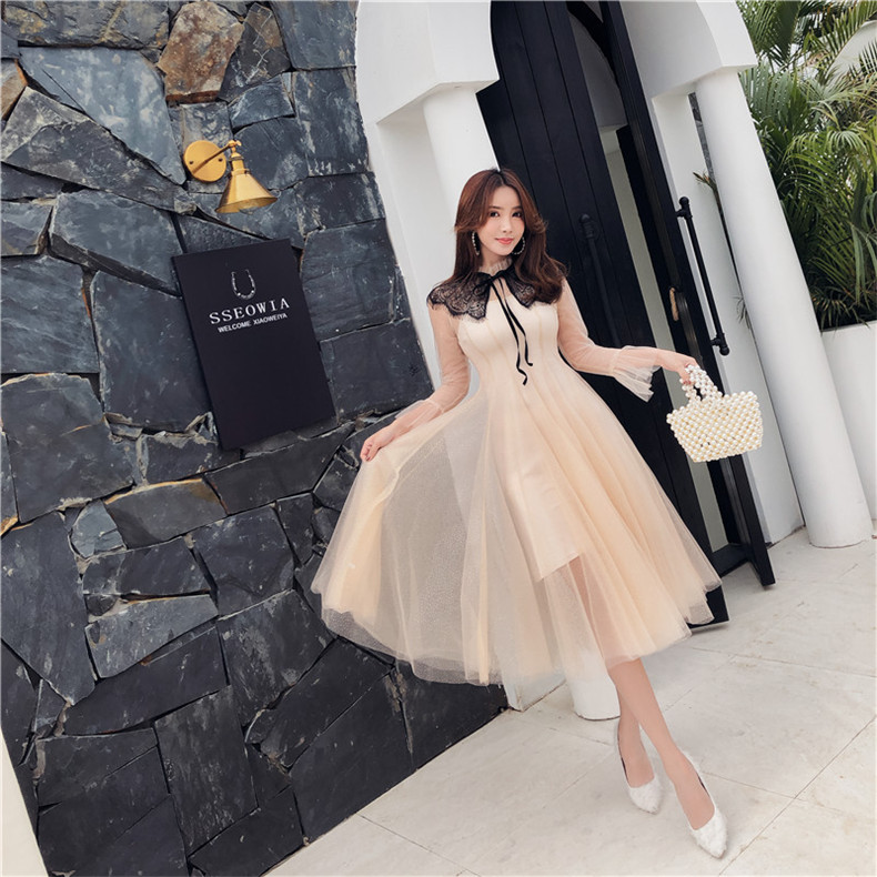 New High Quality Explosions Leisure Vintage color matching dress Women embroidery Spring summer Casual dress