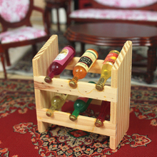 G06-X715 children baby gift Toy 1:12 Dollhouse mini Furniture Miniature rement wine rack 1pcs