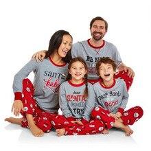 Рождественские пижамы для всей семьи, зимние одинаковые комплекты для мамы, дочки, папы и сына, полосатая футболка с длинными рукавами+ штаны, костюмы