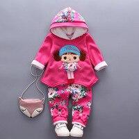 2017 Kış Kız Giyim Yeni Desen Kalınlaşma bebek kız Giysileri Kazak bebek Suit setleri 0-3y A326