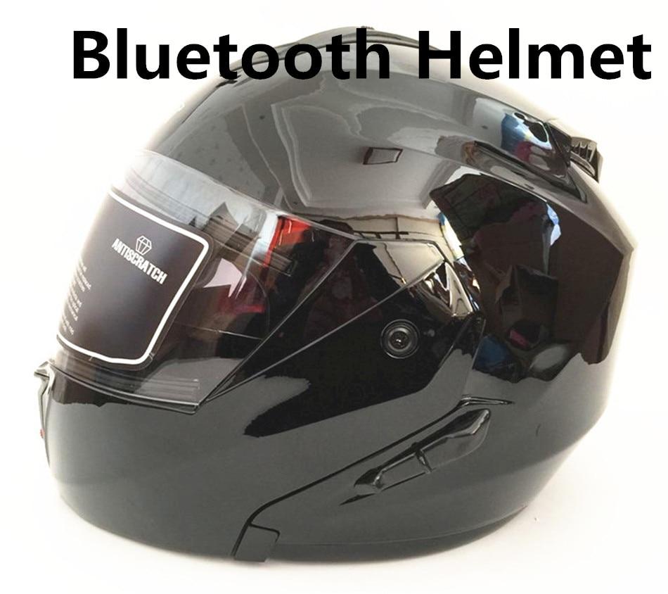 2018 Bluetooth мотоциклетный шлем построен в домофон Системы точка Стандартный шлем гонщика BT говорить с радио телефонный звонок черный