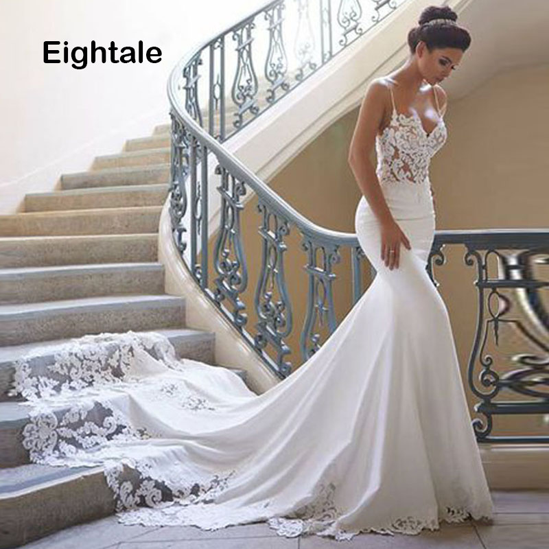 Eightale Spaghetti Strap Mermaid Wedding Dresses 2019 Appliques Boho Lace Bride Dress Custom Made Wedding Gown Free Shipping