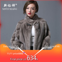 XINYUXIANG luxury Real mink fur coat women Fashion thick warm Natural fur Jacket female Genuine Leather Real fur coat 2017 New