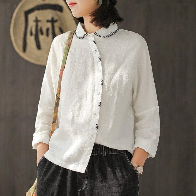 da38fd68 Johnature Women Embroidery Shirts Cotton Linen Blouses Irregular Long Sleeve  2019 Spring New Vintage Tops Button Shirts Women