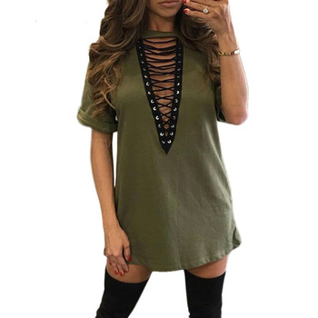 Summer Tunic Tops Mini Party Dresses Vestidos Plus Size T Shirt Dress 2018 Women V-Neck Lace up Bandage Bodycon Sexy Club Dress image