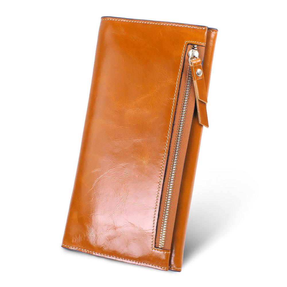 2016 Genuine Leather Long Women Wallets Ladies Brand Zippers Hasp Buttons Wallet Credit Card Holder Cowhide Female Clutch Purses