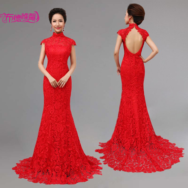 Red lace wedding dress chinese style cheongsam formal dress bride ...