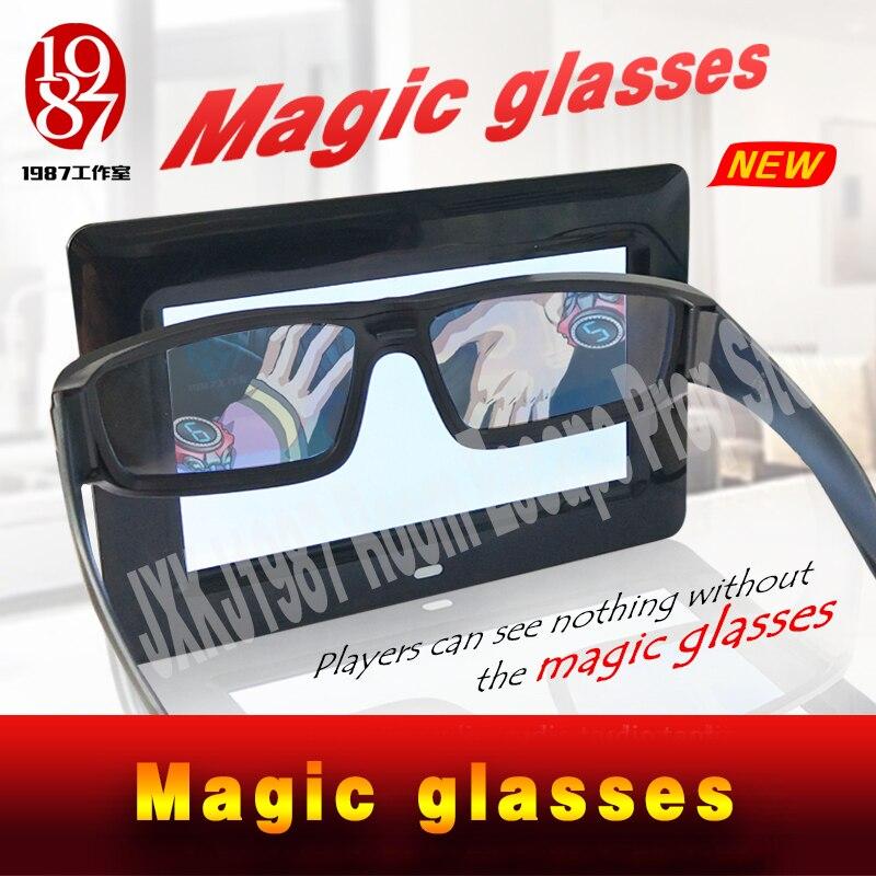 NOUVEL Escape chambre prop lunettes Magiques trouver la magie lunettes à faire la invisible des indices apparaissent JXKJ1987 réel salle de vie évasion