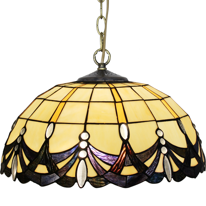 Tiffany Baroque Stained Glass Suspended Luminaire E27 LED Iron Chain Pendant Light Lighting Lamp for Home Parlor Dining Room - 4